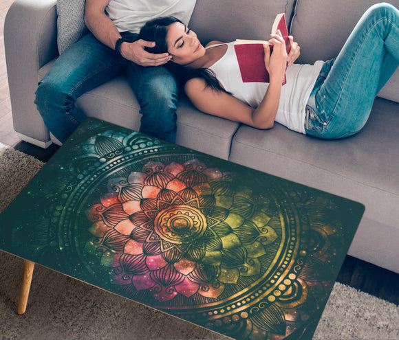 HandCrafted Chakra Mandala Rectangular Coffee Table