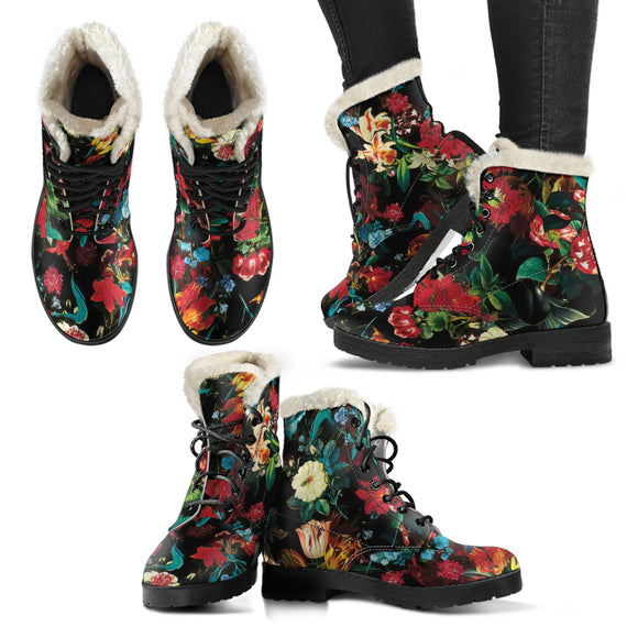 Flower Festival Love Faux Fur Leather Boots