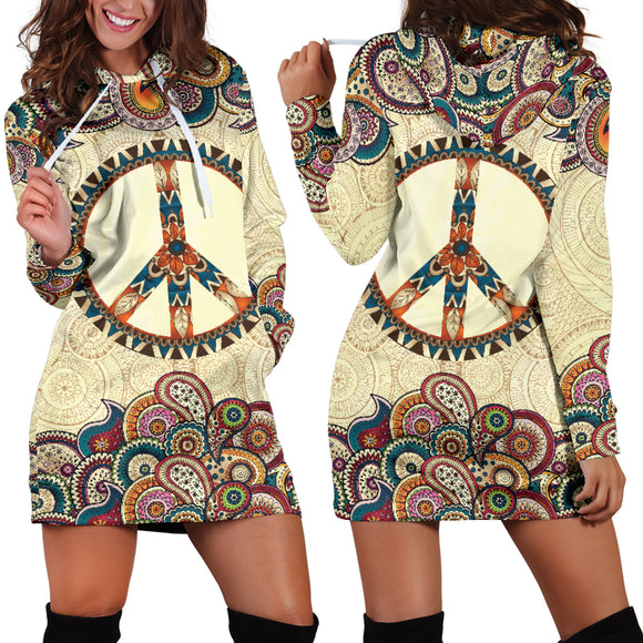 Beige Peace And Mandala Women's Hoodie Dress