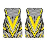 Racing Style Yellow & Grey Stripes Vibes Front Car Mats