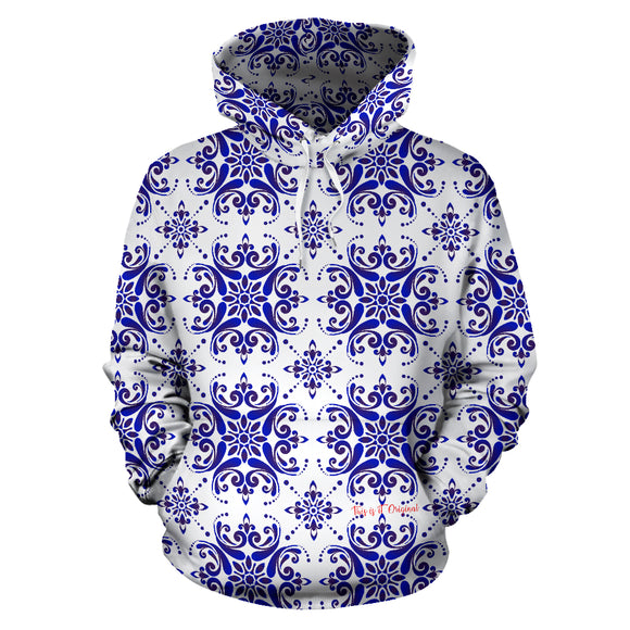 Amazing Traditional White & Blue Ornaments Vibes Three All Over Hoodie