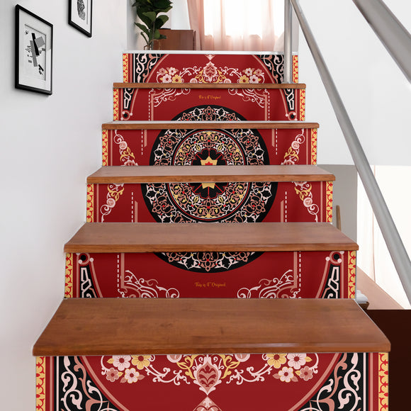 Luxury Persian Ornamental Design Two Stair Stickers (Set of 6)