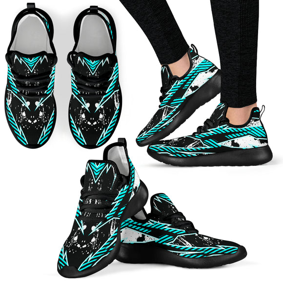 Racing Style Ice Blue & Black Splash Vibes Mesh Knit Sneakers