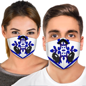 White & Blue Traditional Mandala Design Three Premium Protection Face Mask