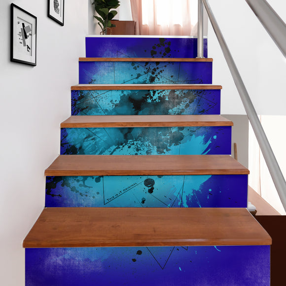 Deep Blue Fresh Street Art Design Stair Stickers (Set of 6)