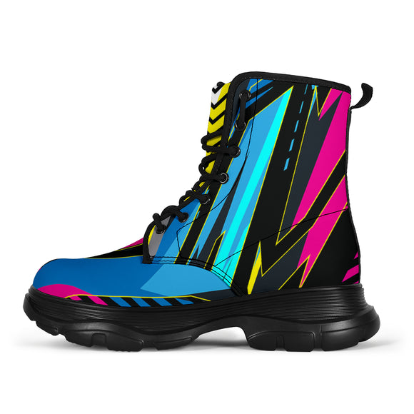 Racing Funky Style Pink & Light Blue Colorful Vibes Chunky Boots