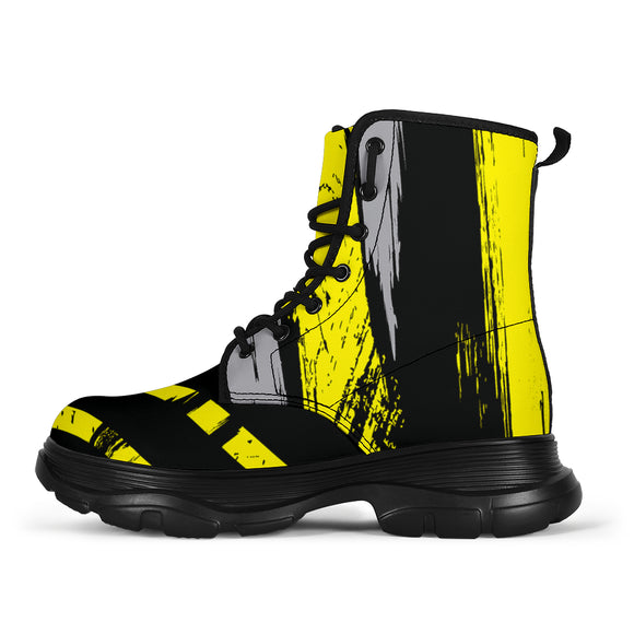 Racing Urban Style Yellow & Grey Vibes Chunky Boots