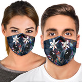 Luxury Colorful White Flowers Art Premium Protection Face Mask