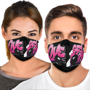 Pink Graffiti Love & GRL PWR Design Premium Protection Face Mask