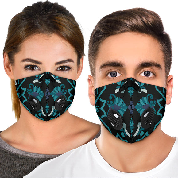 Luxury Light Blue Persian Style Premium Protection Face Mask