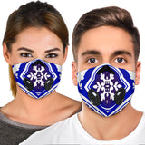 White & Blue Traditional Mandala Design Four Premium Protection Face Mask