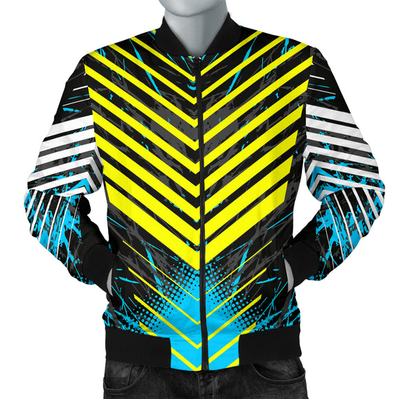 Racing Style Blue & Yellow Stripes Vibes Men's Bomber Jacket