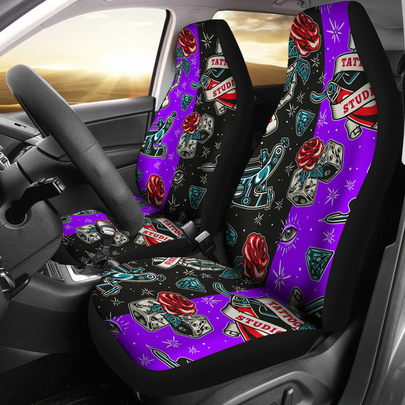 Black & Violet Tattoo Studio Art Design Car Seat Covers