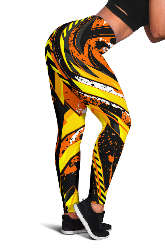 Racing Style Wild Orange & Yellow Vibes Women's Leggings