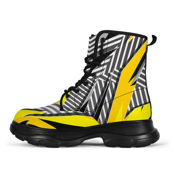 Racing Style Yellow & Grey Stripes Vibes Chunky Boots
