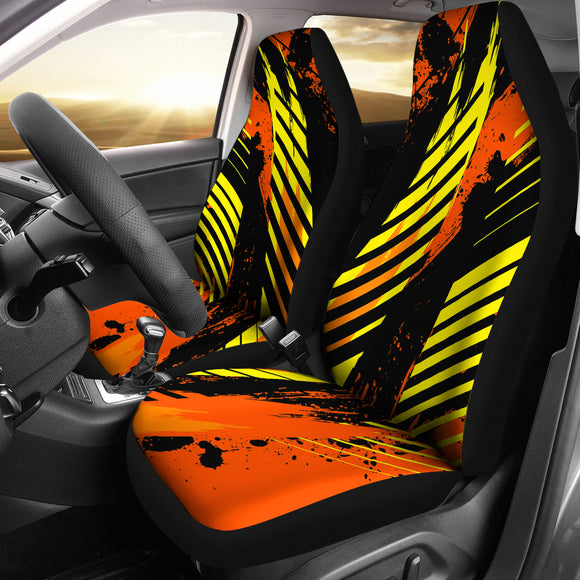 Racing Style Orange & Yellow Stripes Vibes Car Seat Covers