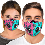 Tattoo Studio Design In Pink & Light Blue Vibes Premium Protection Face Mask