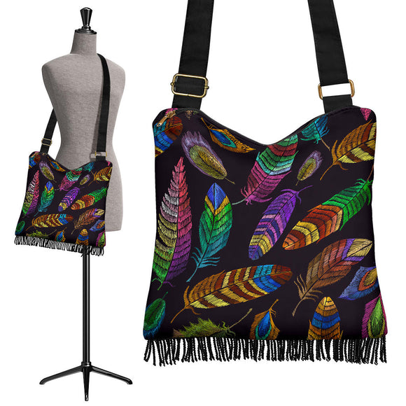 Magical Multi Peacock Feather Crossbody Boho Handbag