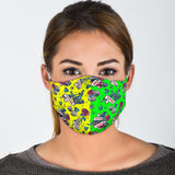 Tattoo Studio Design in Neon Green & Yellow Protection Face Mask