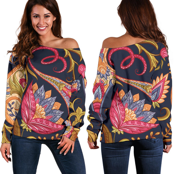 Royal Blue Paisley Women's Off Shoulder Sweater