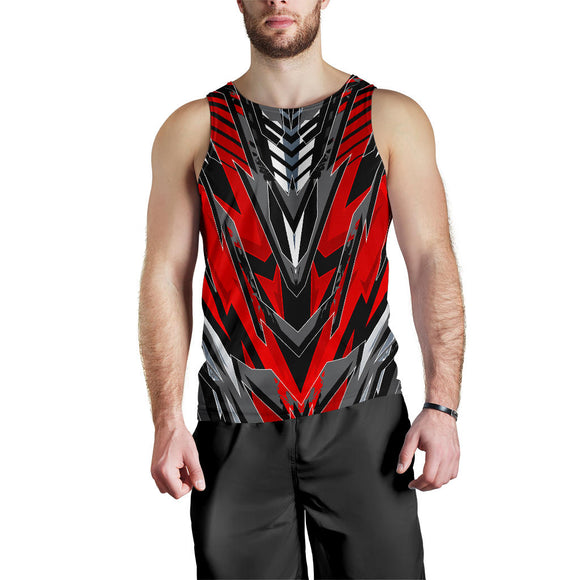 Racing Style Wild Red & Grey Men's Tank Top