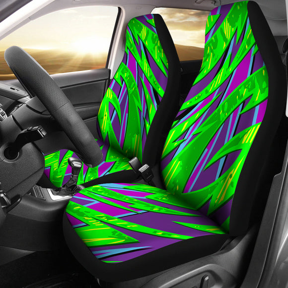 Racing Style Violet &  Neon Green Colorful Vibes Car Seat Covers