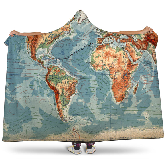 Luxury Special Old school World Map Design Hooded Blanket
