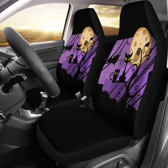 Halloween Black Cat In Purple Sunset Car Seat Cover