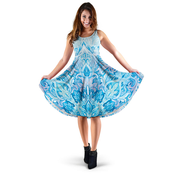 Ornamental Heavenly Blue Women's Dress