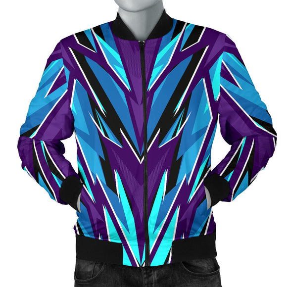 Racing Style Violet & Ice Blue Vibes Men's Bomber Jacket