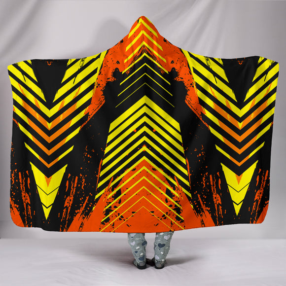Racing Style Wild Orange & Yellow Stripes Vibes Hooded Blanket