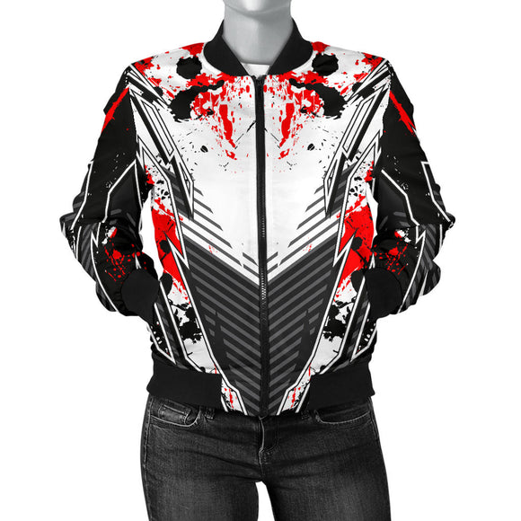Racing Style Black & Bloody Red Splash Vibes Women's Bomber Jacket