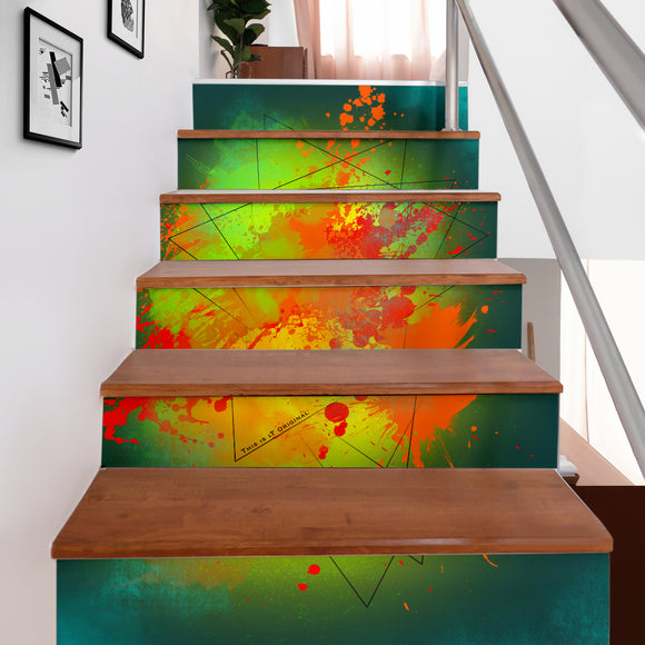 Deep Ocean Green Fresh Street Art Design Stair Stickers (Set of 6)
