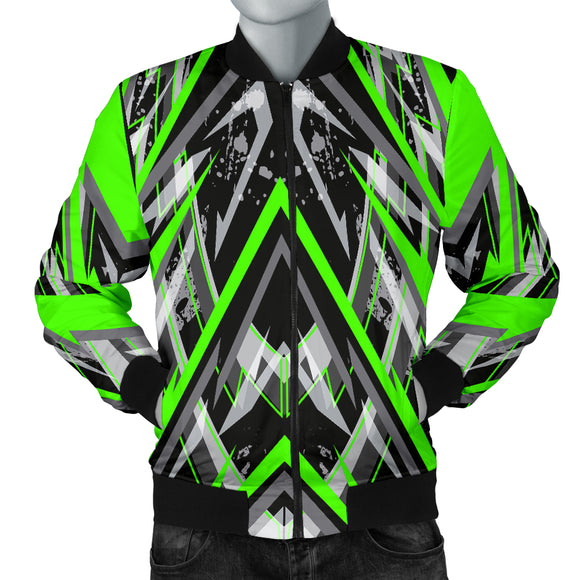Racing Style Black & Neon Green Stripes Vibes Men's Bomber Jacket