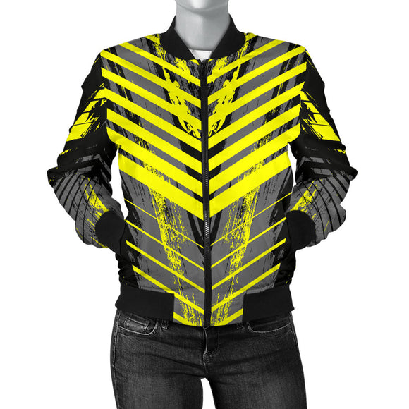 Racing Style Grey & Yellow Stripes Vibes Women's Bomber Jacket