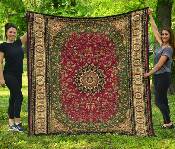 Luxury Persian Carpet Style in Red and Brown Premium Quilt
