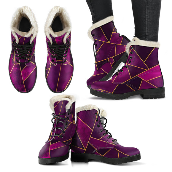 Purple Hypnotic Geometry Faux Fur Leather Boots