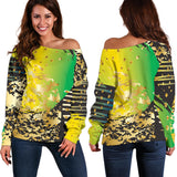 Energizing Neon Dots Women's Off Shoulder Sweater