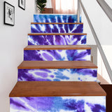 Luxury Violet Color Tie Dye Design Stair Stickers ( Set of 6 )