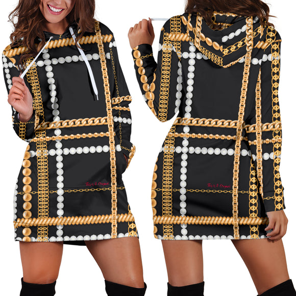 Dark Style Pearls & Gold Chains Women's Hoodie Dress