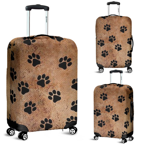 Brown Paws Luggage Cover