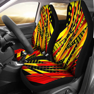 Racing Style Wild Orange & Colorful Red Stripes Vibes Car Seat Covers