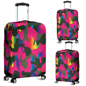 Pink Camouflage Luggage Cover