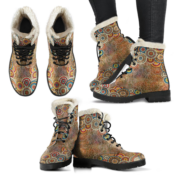 Brown Henna Mandala Lovers Faux Fur Leather Boots