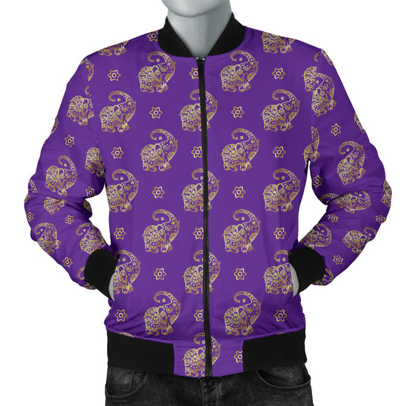 Lucky Purple Elephant Men's Bomber Jacket