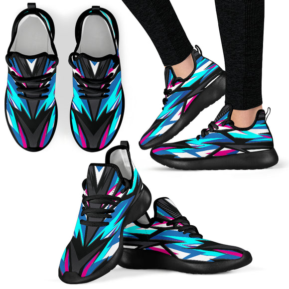 Racing Style Blue & Pink Vibe Black Mesh Knit Sneakers