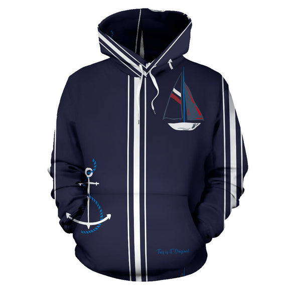 Sailor Style Dark Blue With White Stripes All Over Hoodie
