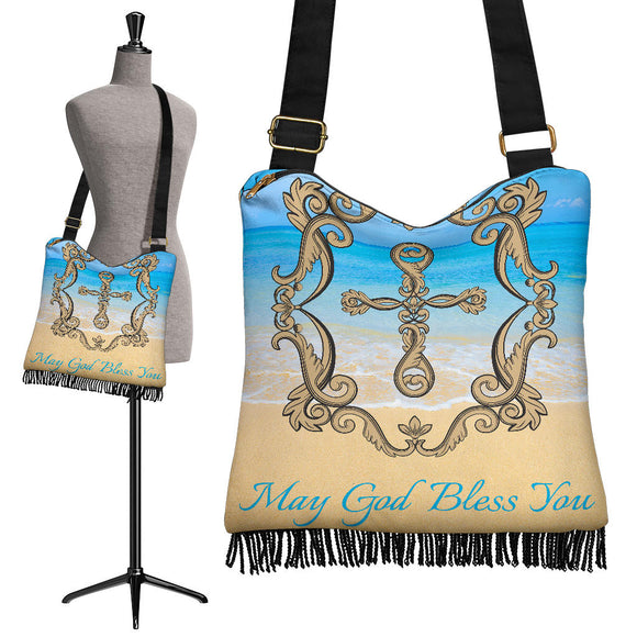 May God Bless You Crossbody Boho Handbag