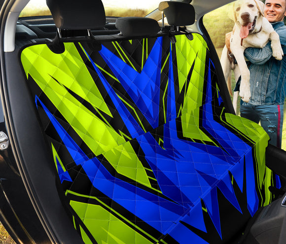 Racing Style Blue & Neon Green Vibes Two Pet Seat Cover