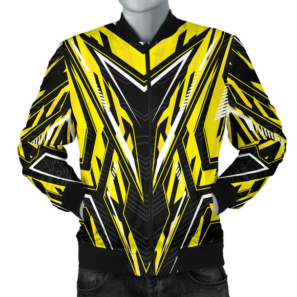 Racing Style Yellow & Black Colorful Vibe Men's Bomber Jacket